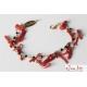 Bracciale  charms, rosarietto spinello nero, corallo rosso