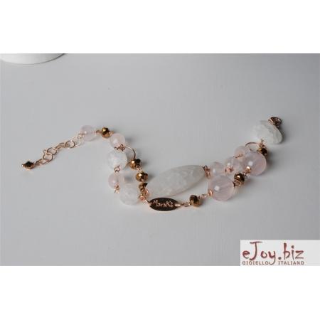 Bracciale a 2 fili, quarzo rosa, cristallo di rocca satinato