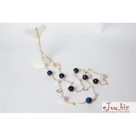 Collana Agata blu, perle barocche, tagli macchina