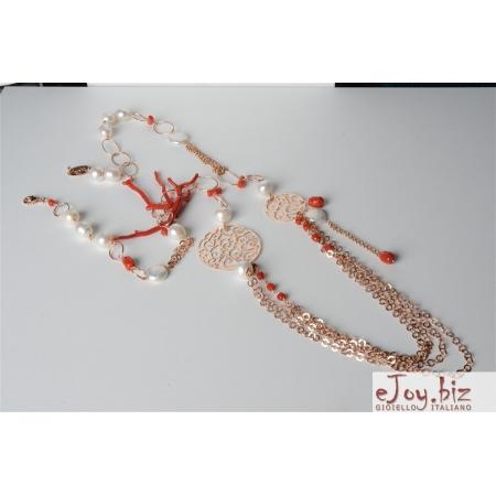 Collana, corallo rosso, perle di fiume