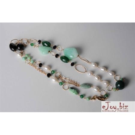 Collana, crisoprasio, agata nera, perle di fiume