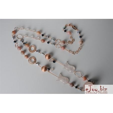 Collana, quarzo rosa, perle di fiume grigie, opale rosa
