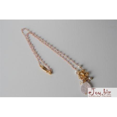 Collana, rosarietto zircone rosa