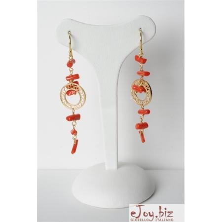 Orecchini, Corallo rosso, cerchi filigrana